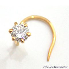 9K Gold L-Shaped Pearl Nose Stud