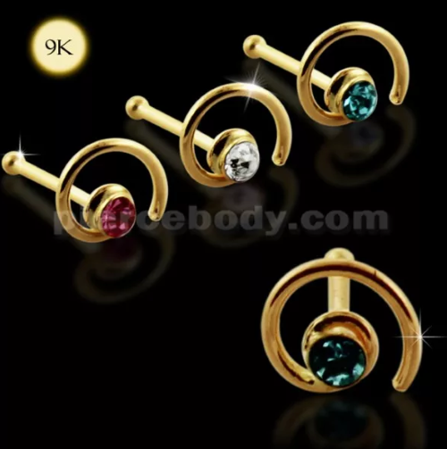 gold coil nose stud