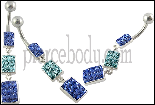 crystal blue belly button rings