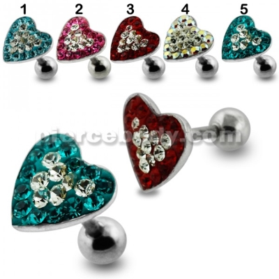 heart steel fake earplug