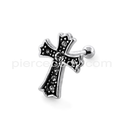 jeweled cross fake earplug