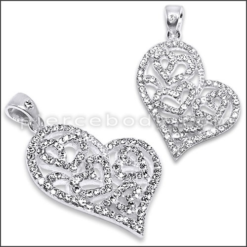 jeweled heart pendants