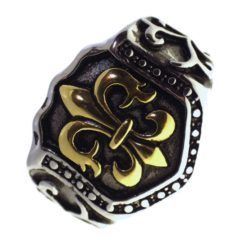 Enticingly Embossed Fleur De Lis Finger Ring