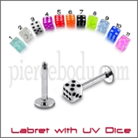 steel labrets with uv dice