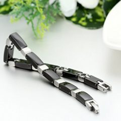 Stainless Steel Ceramic Link Cross Bracelet