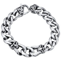 Fleur de Lis Curb link Stainless Steel Bracelet