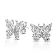 Fancy Jeweled Silver Earrings with Gems