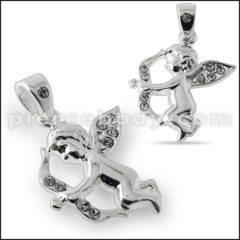Silver Jeweled Love Angel Pendant