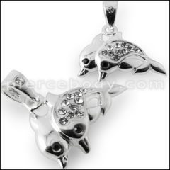 Silver Jeweled Dolphin Pendant