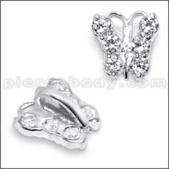 Silver Jeweled Butterfly Pendant