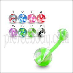 Green UV Body Jewelry Banana Bar Ring with Multi Color UV Balls