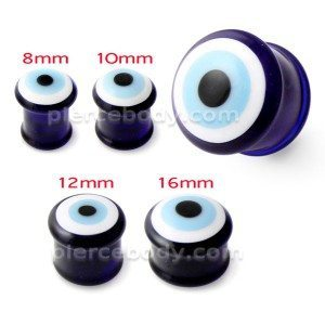 Devil Eye Blue Base Pyrex Glass Ear Plug
