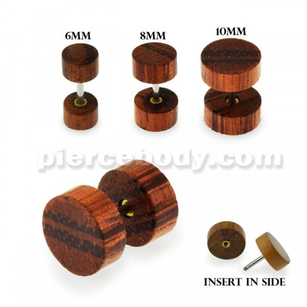 Organic Stripe Brown Wood Fake Ear Plug