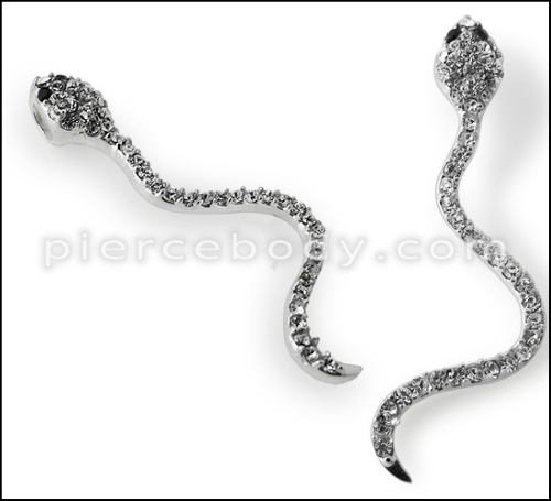 sterling steel jeweled snake pendant