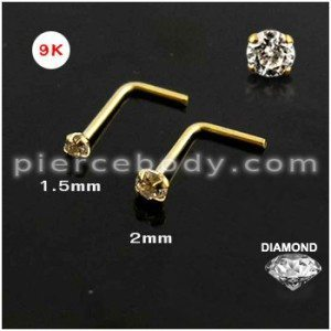 9K Gold L Shaped Nose Stud