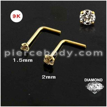 9K Gold L-Shaped Heart Nose Stud