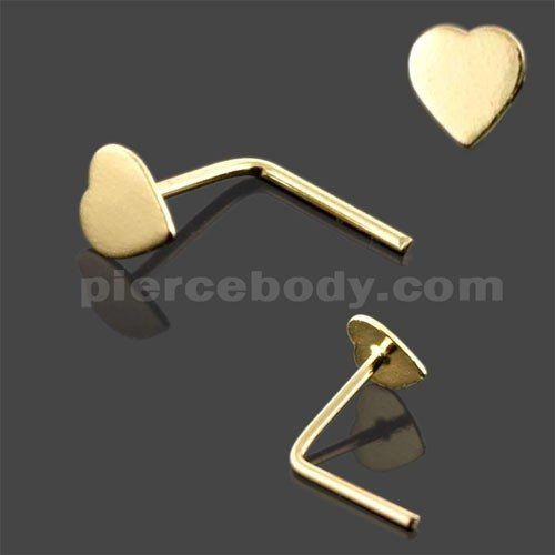 9k Gold I Shaped Heart Nose Stud