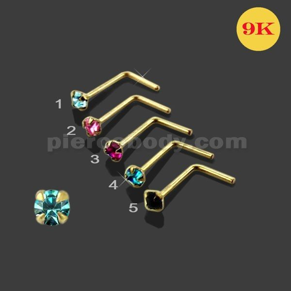 9k Gold L Shaped Crystal Nose Stud