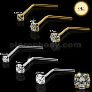 9k Solid Yellow Gold L Shaped Jeweled Nose Stud