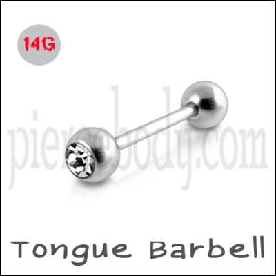 silver Tongue Barbell Piercing