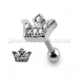 Micro Setting Jeweled Crown Tragus Piercing