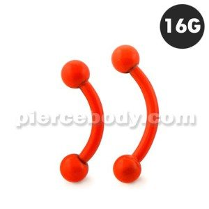 Neon Orange 316L Surgical Steel Curved Barbells