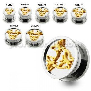 Tri Butterfly Screw Fit Ear Gauges
