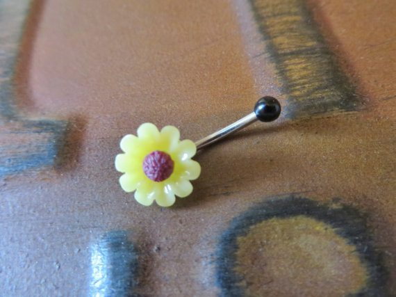 Mini 16 Gauge Sunflower Rook Eyebrow Jewelry Stud Ring Daisy Bar Barbell Yellow Flowers- Price- $12.00 USD