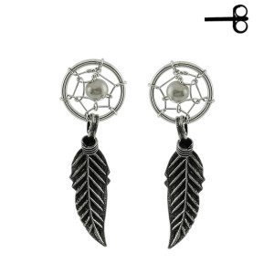 925 Sterling Silver Dream Catcher Push Back Ear Stud