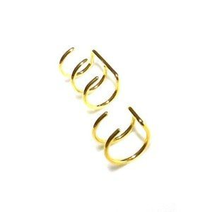 Double or Triple Closure Ring Gold IP Over 316L Surgical Steel Fake Non-Piercing Cartilage 'Clip-On'