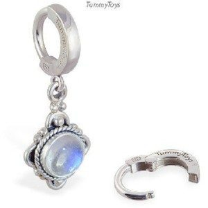 Moonstone and Sterling Silver Belly Button Ring By TummyToys (69035)