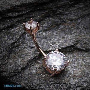 Rose Gold Classic Sparkle Gem Belly Button Ring