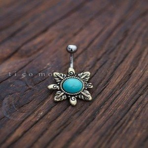 belly ring belly button ring belly button jewelry turquoise boho bohemian jewelry