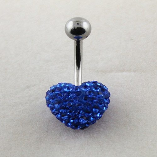 blue gem belly button ring