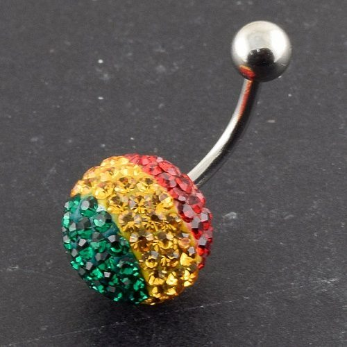 multi colored belly piercing