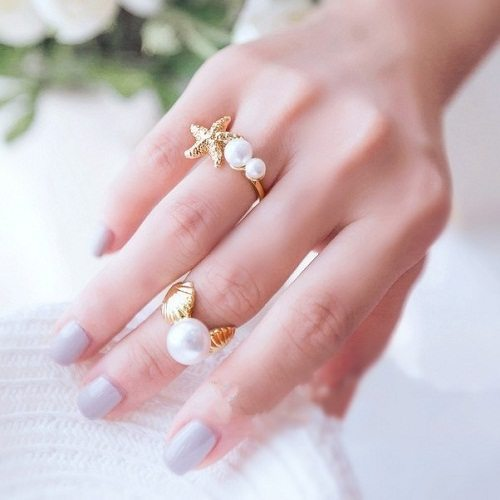 5sets-lot-Fashion-DIY-Ocean-Gold-plated-Shell-Starfish-Open-Ring-With-Imitated-Big-Pearl-Studded
