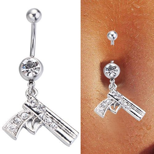 Steel-Clear-Crystal-Gun-Dangle-font-b-Belly-b-font-Button-Navel