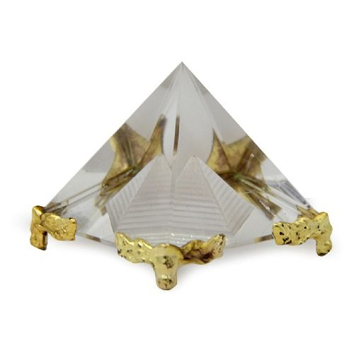 White And Golden Feng Shui Crystal Pyramid