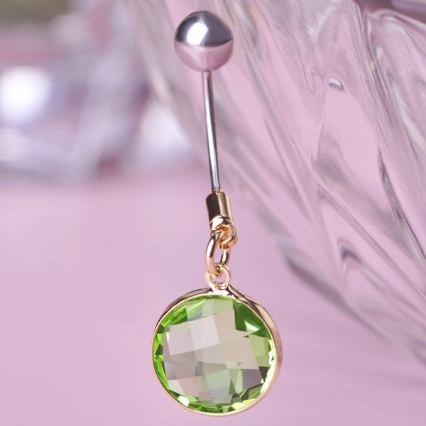 crystal belly button ring