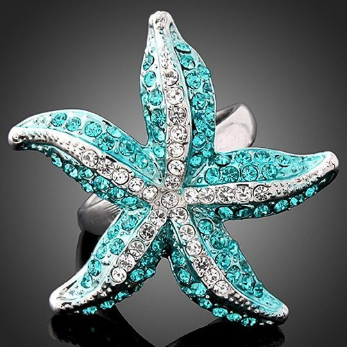 Starfish Crystal Finger Ring