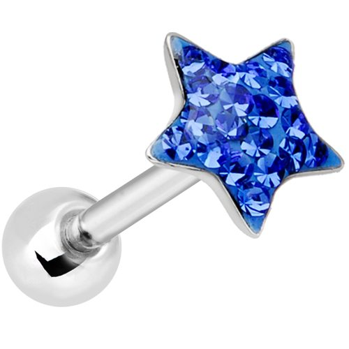 Star Designed Tongue Piercing Rings