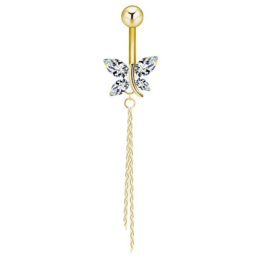 Dangling Gold Belly Button Ring