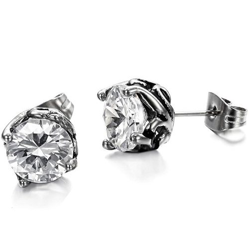 Stainless Steel Earring with Diamond