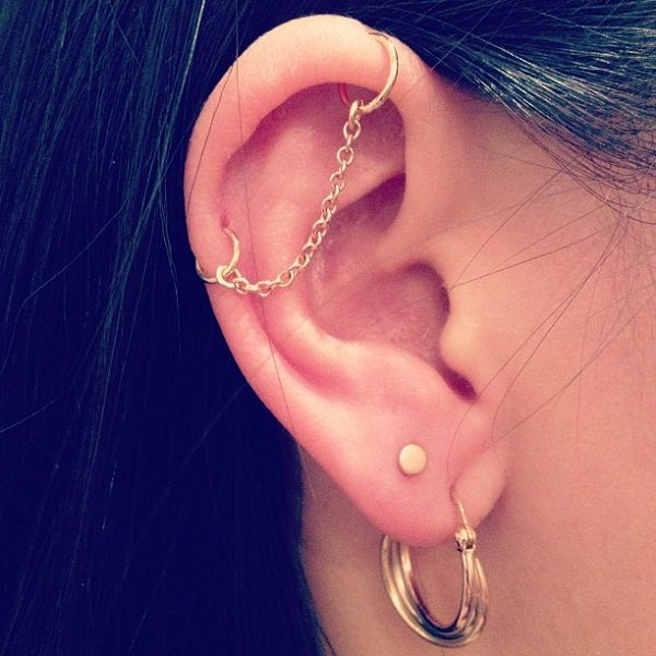 gold industrial piercing jewelry