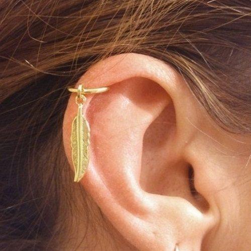 leave-designed Helix ear jewelry