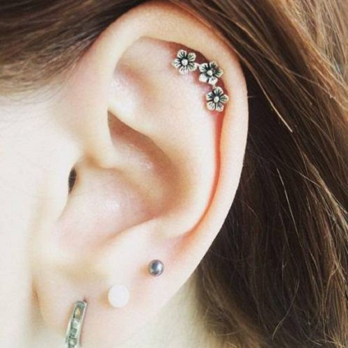 Helix ear jewelry with flower