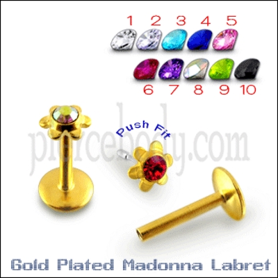 flower shaped gold plated colorful labrets