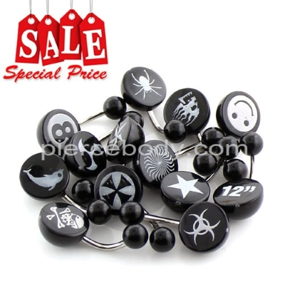 UV steel belly rings