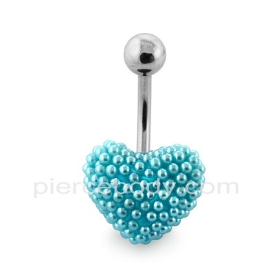 aqua pearl belly buttonrings