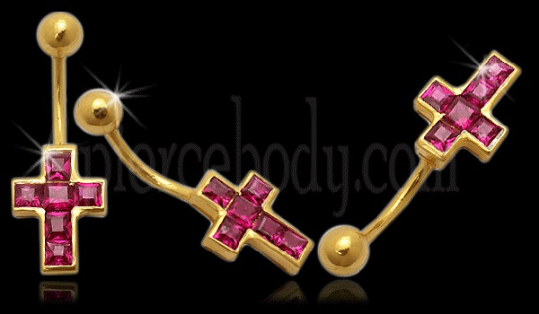 cross  gold belly button rings